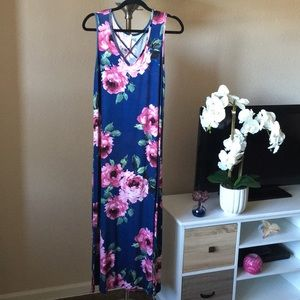 Navy Blue Floral print Maxi Long Dress Medium M